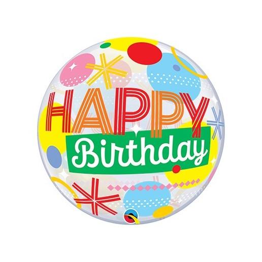 Bubbles Birthday Circles & Dots Stripes - Folienballon