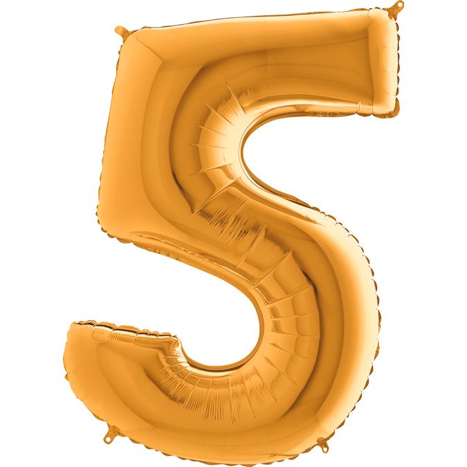 XXL Folienballon gold Zahl 5
