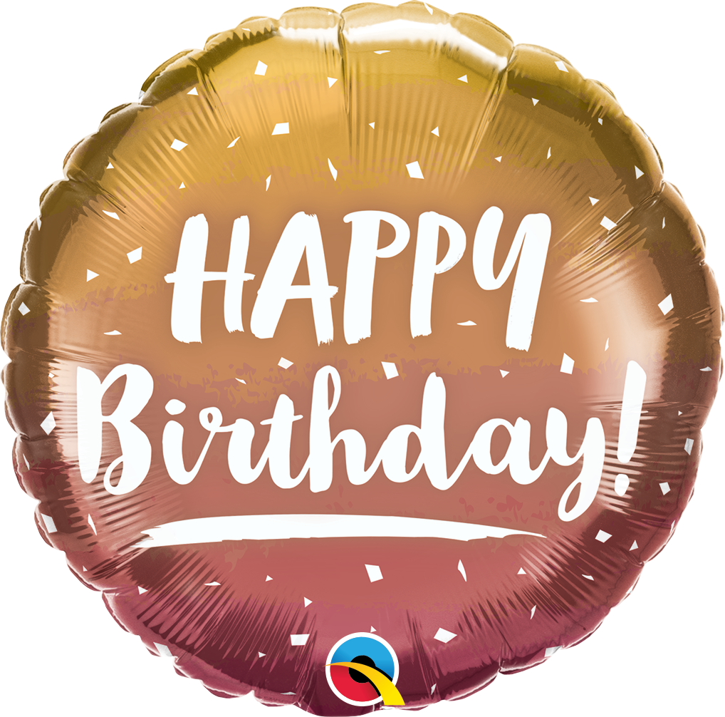 Birthday Gold & Rose Gold Ombre - Folienballon