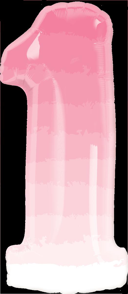 Folienballon Zahl 1 rosa  ombre - Folienballon