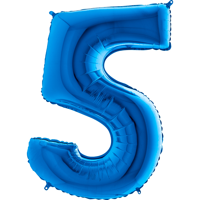 XXL Folienballon blau Zahl 5