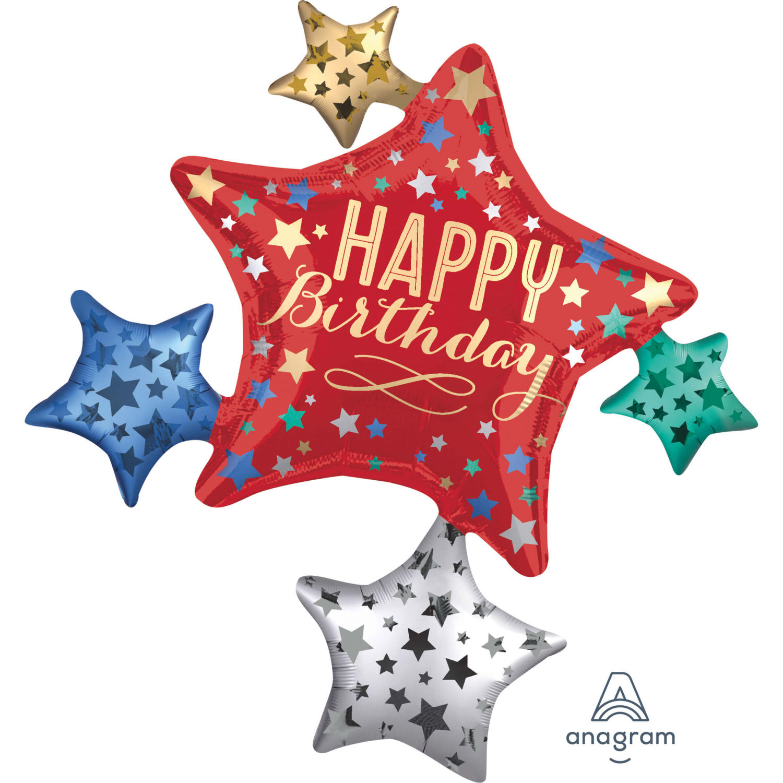 Birthday Star Cluster - Folienballon Satin