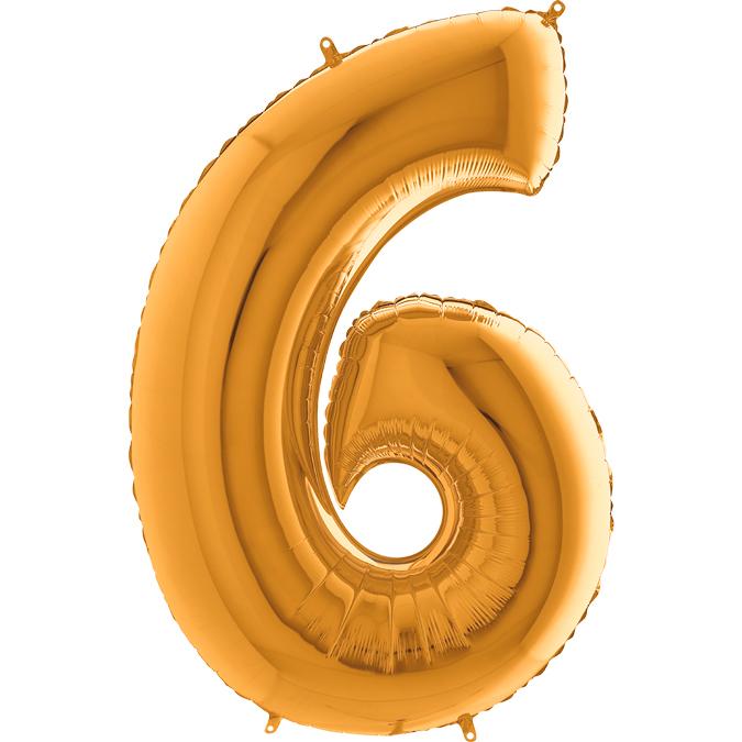 XXL Folienballon gold Zahl 6