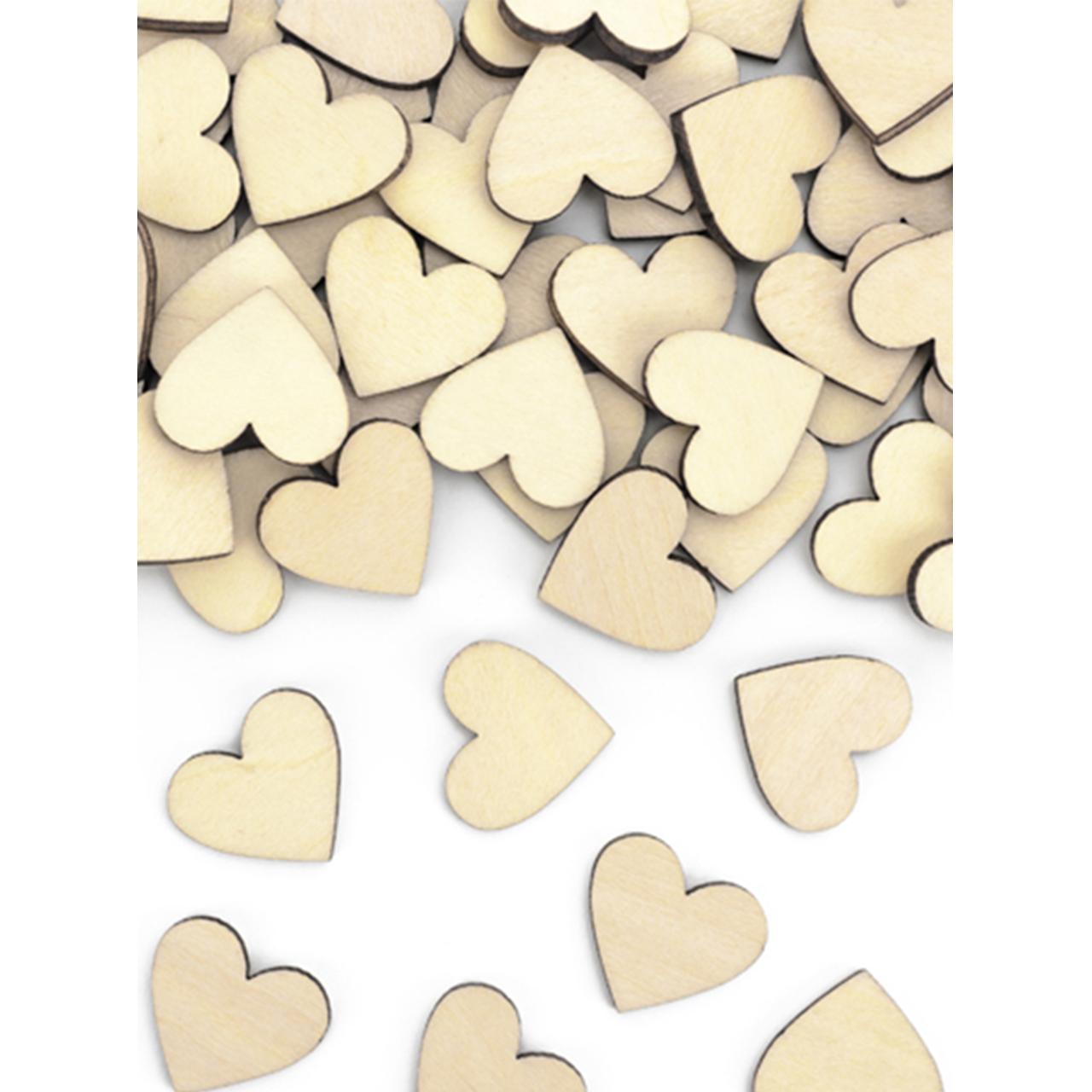 50x Holzkonfetti - Herzen