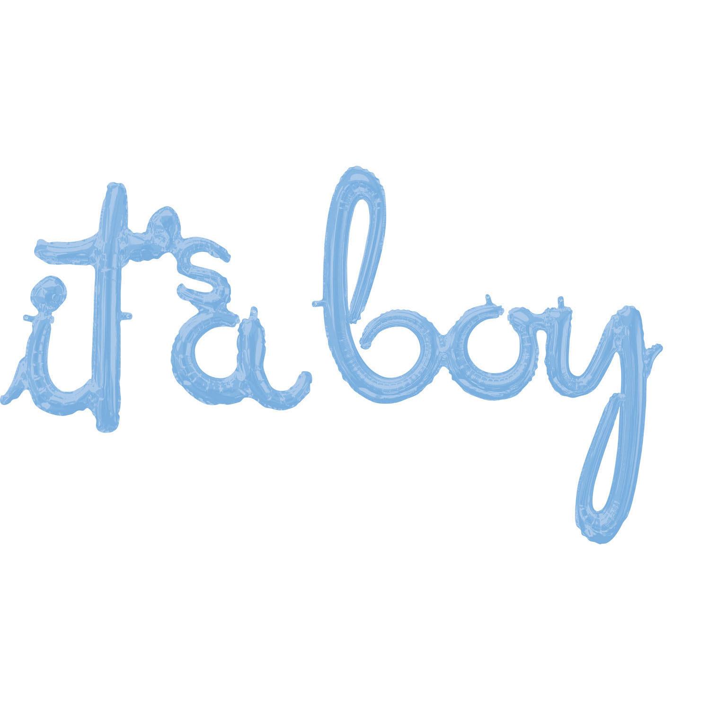 Schriftzug It's A Boy Pastel Blue - Folienballon