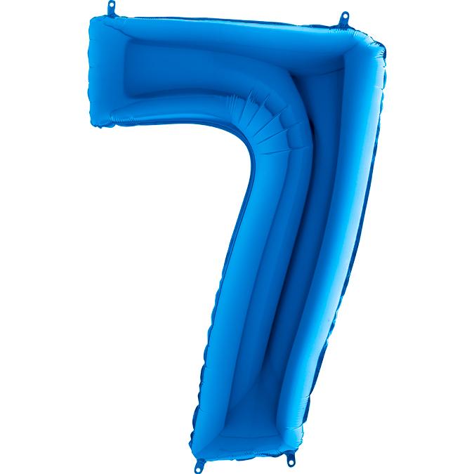 XXL Folienballon blau Zahl 7