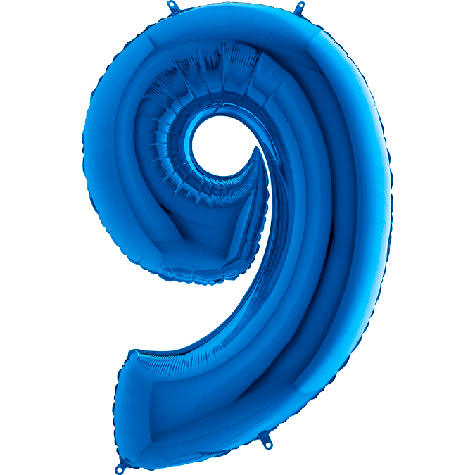 XXL Folienballon blau Zahl 9