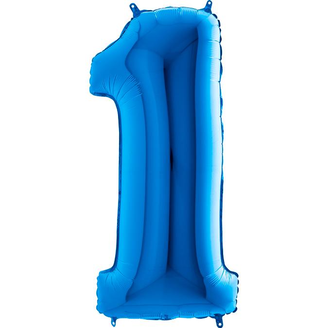 XXL Folienballon blau Zahl 1