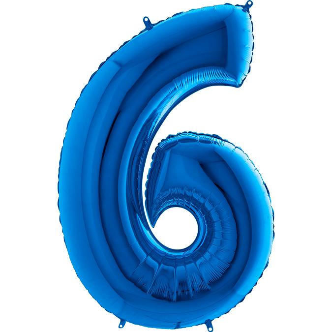 XXL Folienballon blau Zahl 6
