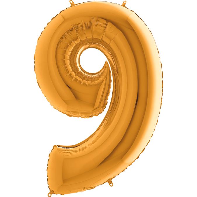 XXL Folienballon gold Zahl 9