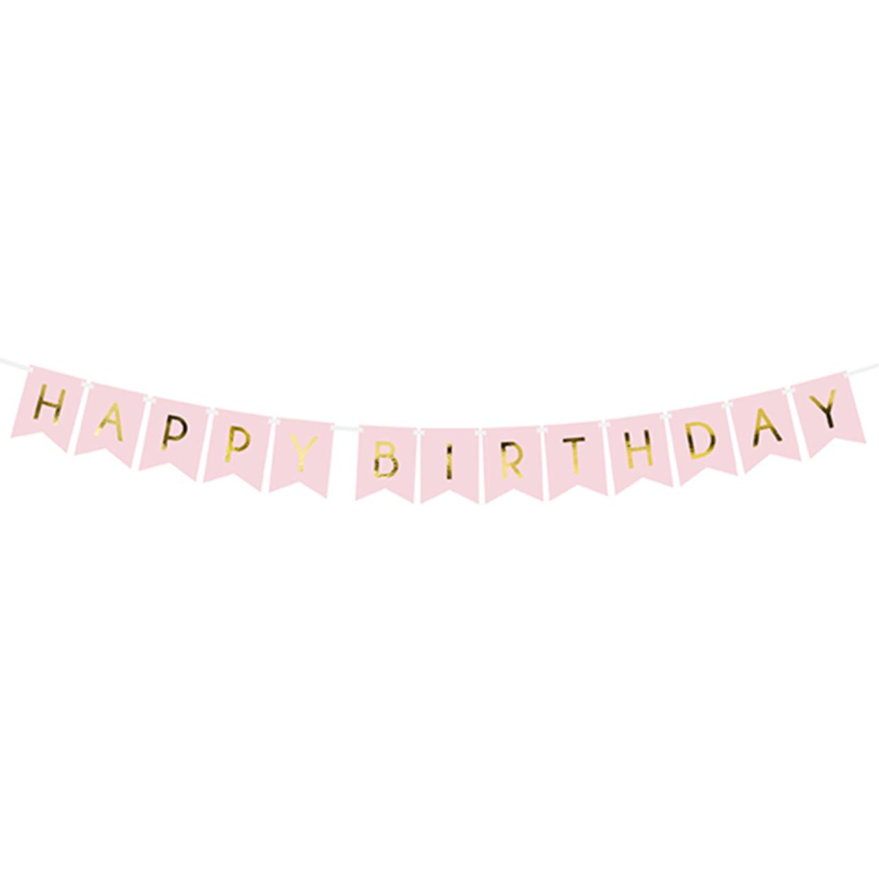 Banner / Girlande - Happy Birthday - Rosa