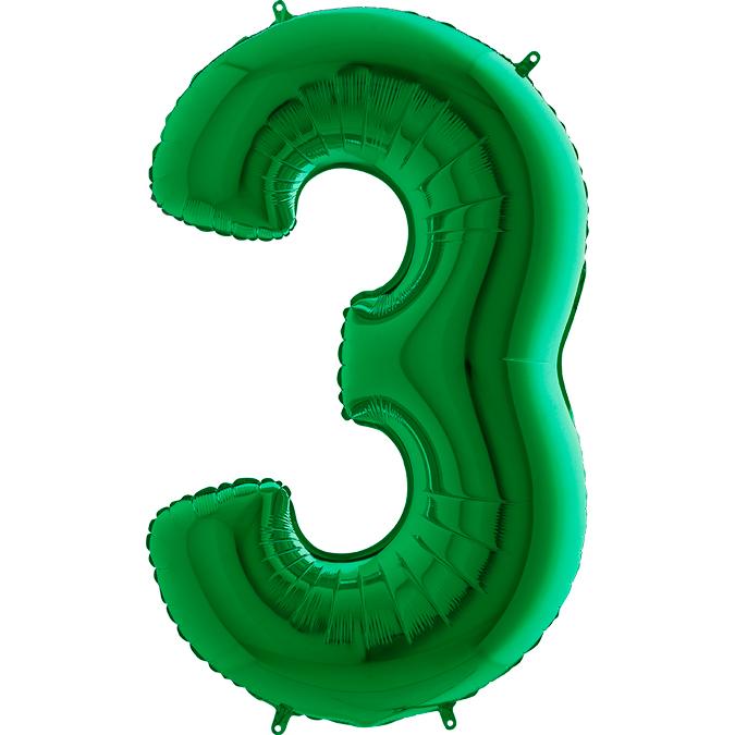 XXL Folienballon grün Zahl 3
