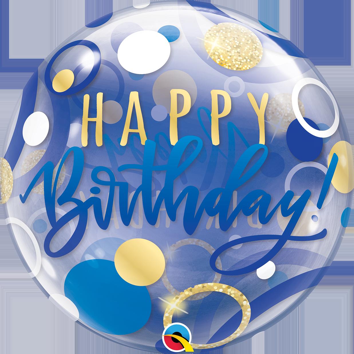 BUBBLES - BOY Birthday Blue & Gold Dots