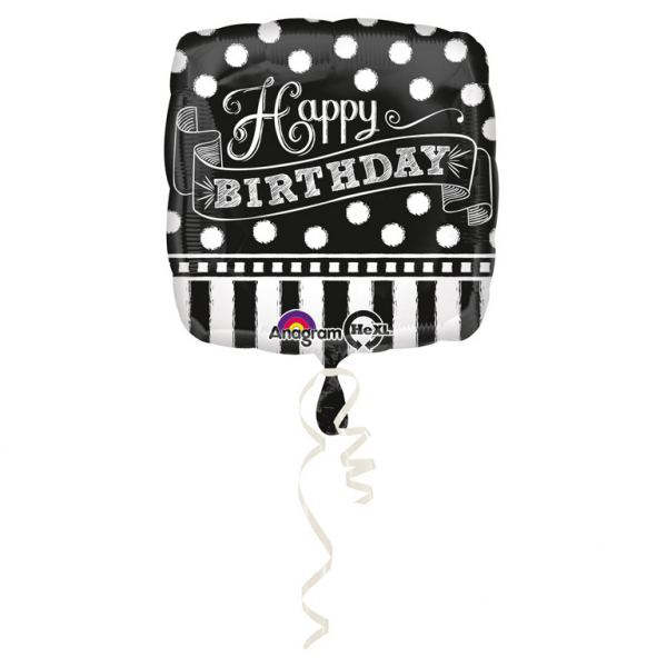 Black & White Chalkboard Birthday - Folienballon