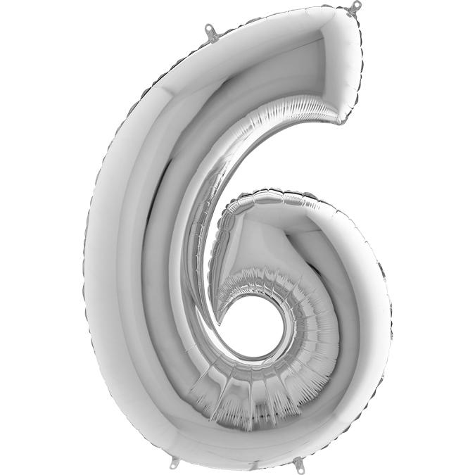 XXL Folienballon silber Zahl 6