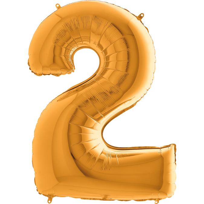 XXL Folienballon gold Zahl 2