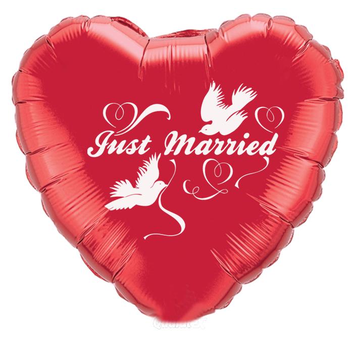 Folienballon Just Married Herz