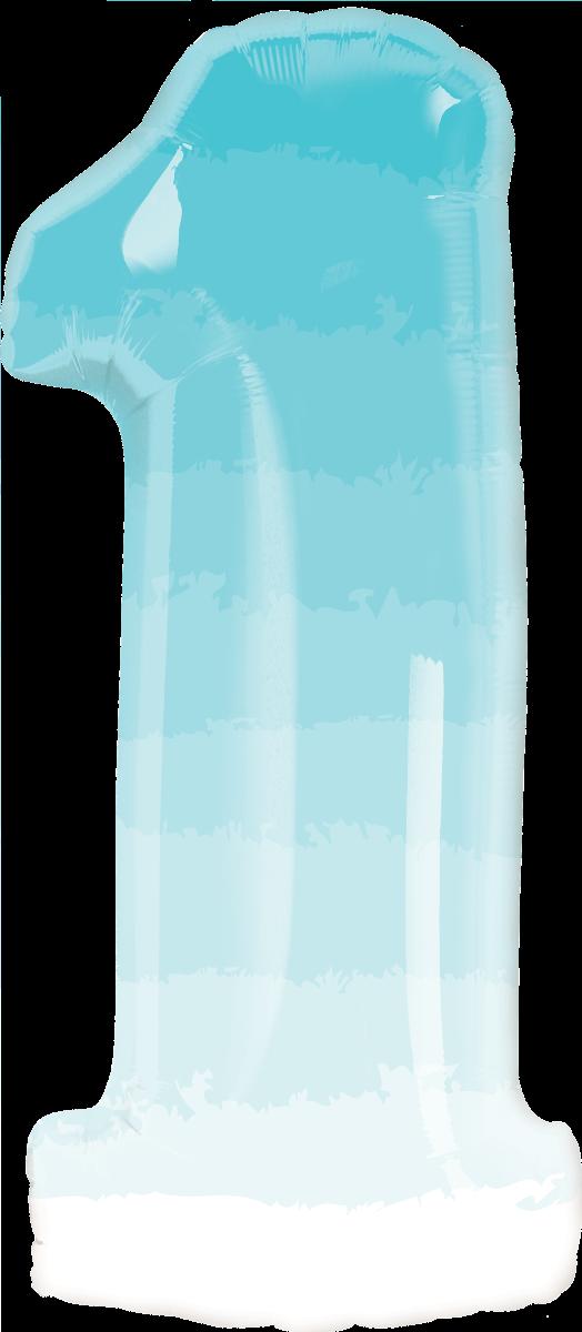 Folienballon Zahl 1 blau ombre - Folienballon