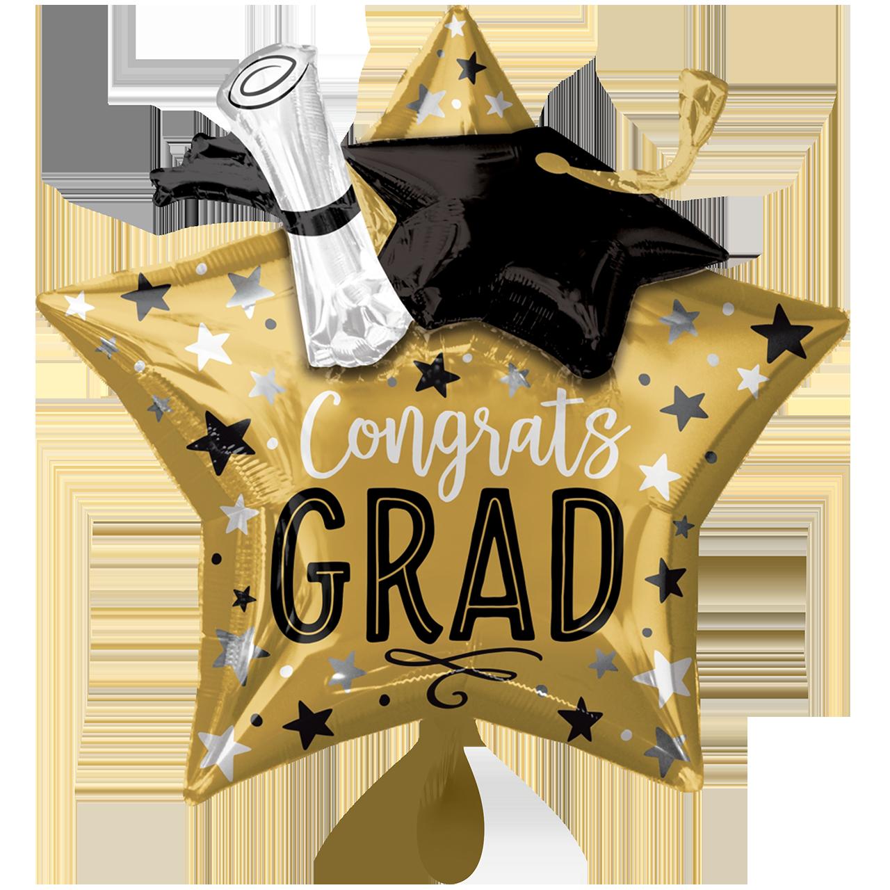 XXL Studium, Abschluss bestanden - Grad Star, Cap & Diploma 3D- Folienballon